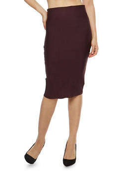 Solid Pencil Skirt - 1406069394066