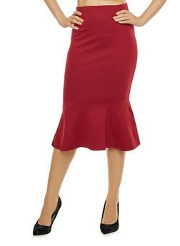 Ponte Pencil Skirt with Flounce Hem - 1406069394100