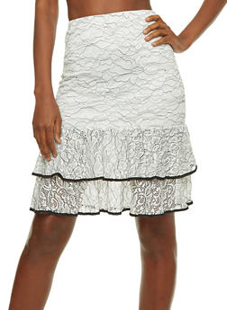 Lace Tiered Hem Pencil Skirt - 1406069394142
