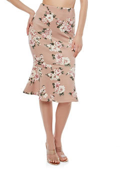 Floral Print Pencil Skirt with Flounce Hem - 1406069397219