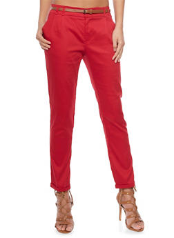 Pleated Casual Pant with Rolled Cuff - 1407054212951