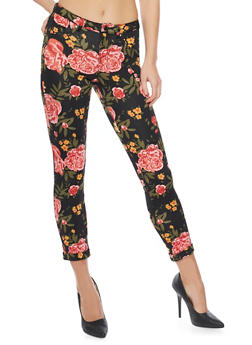 Printed Scuba Knit Pants with Rolled Cuffs - BLACK 2238 - 1407056570015
