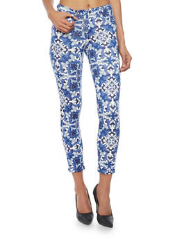 Printed Scuba Knit Pants with Rolled Cuffs - NAVY 2239 - 1407056570015