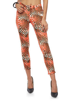 Printed Scuba Knit Pants with Rolled Cuffs - CORAL - 1407056570015