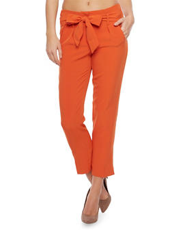 Pleated Pants with Tie Belt - 1407056570212