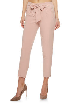 Pleated Pants with Tie Belt - BLUSH - 1407056570212