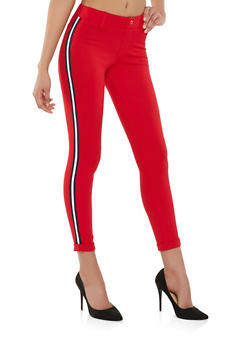 Side Stripe Ponte Knit Pants - 1407056570251
