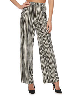 Striped Crinkle Knit Palazzo Pants - 1407056571212