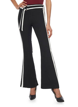 Palazzo Pants with Contrast Stripes - 1407056572167