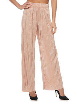 Solid Crinkle Knit Palazzo Pants - BLUSH - 1407056572212