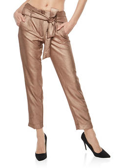 Belted Stretch Metallic Knit Pants - 1407056572213