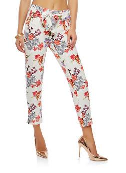 Floral Tie Front Pants - 1407056572215