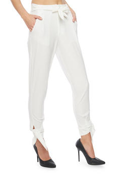 Cropped Casual Pant with Tie Waist and Leg - OFF WHT - 1407056572235