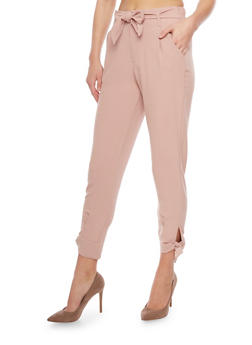 Cropped Casual Pant with Tie Waist and Leg - 1407056572235
