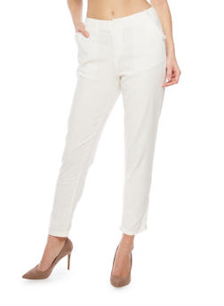 Cropped Linen Pants - IVORY - 1407056574005