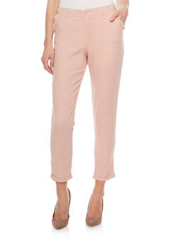 Cropped Linen Pants - ROSE - 1407056574005