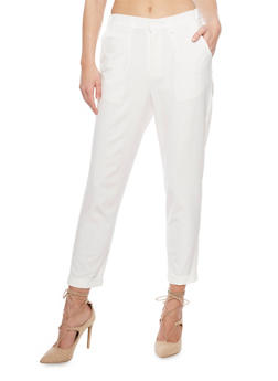 Crepe Knit Pleated Dress Pants with Cuff - OFF WHT - 1407056574007