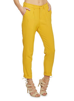 Crepe Knit Pleated Dress Pants with Cuff - GOLD  HONEY - 1407056574007
