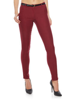 Casual Pant with Belt - BURGUNDY - 1407062701551