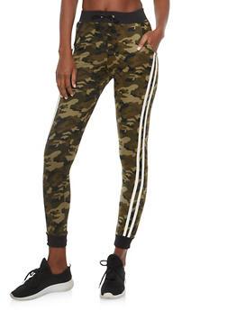 Varsity Stripe Camo Print Joggers - 1407062701736