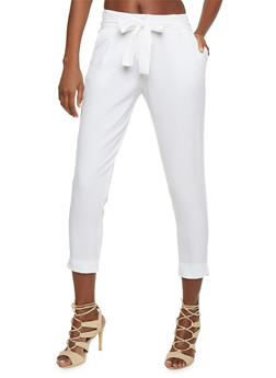 Crepe Knit Pleated Dress Pants with Tie Belt - WHITE - 1407062708087