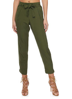 Crepe Knit Pleated Dress Pants with Tie Belt - OLIVE - 1407062708087
