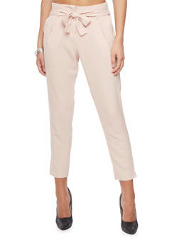 Crepe Knit Pleated Dress Pants with Tie Belt - BLUSH - 1407062708087
