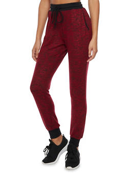 Plush Marled Knit Joggers - BURGUNDY - 1407066490570