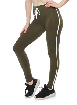 Cotton Varsity Stripe Leggings - 1407066491217