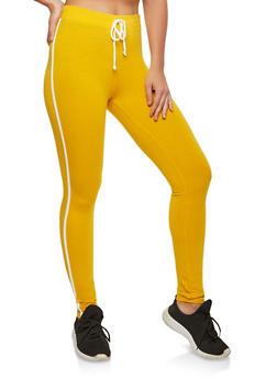 Cotton Varsity Stripe Leggings - 1407066491217