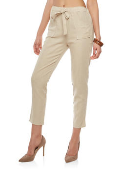 Belted Linen Pants - 1407066491703