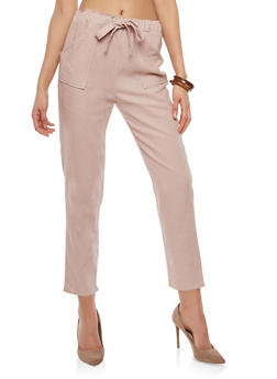 Belted Linen Pants - 1407066491703