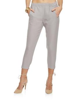 Woven Cropped Dress Pants - 1407068193001