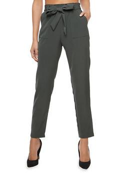 Tie Waist Dress Pants - 1407068193591