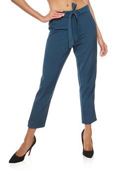 Tie Waist Cropped Dress Pants - 1407068193593