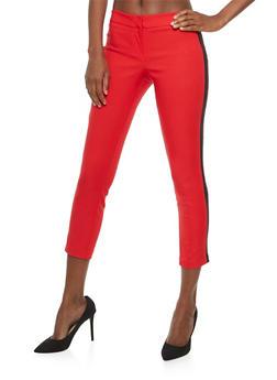 Side Stripe Cropped Dress Pants - 1407068517415