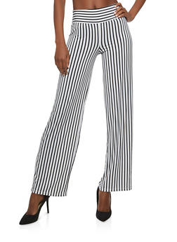 Striped Pull On Palazzo Pants - 1407069390147