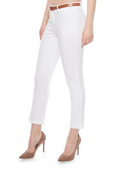 Cropped Belted Twill Pants - WHITE - 1407069390631