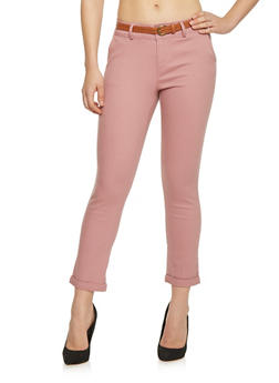 Cropped Belted Twill Pants - 1407069390631