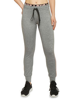 Double Waist Graphic Trim Active Joggers - 1407069396572