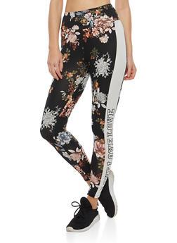 Floral Side Stripe Graphic Leggings - 1407069396825