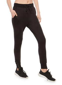 Lace Up Leg Sweatpants - 1407069396840