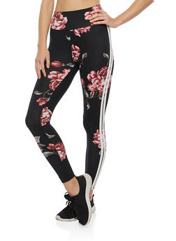 Floral Double Stripe Leggings - 1407069396863