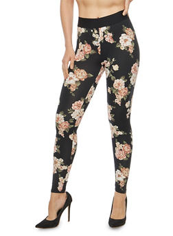 Soft Knit Floral Leggings - 1407069396864