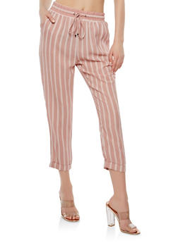 Striped Crepe Knit Pants - 1407069396907
