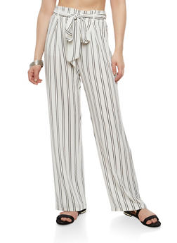 Striped Tie Front Palazzo Pants - WHITE - 1407069396913