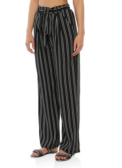 Striped Tie Front Palazzo Pants - 1407069396913
