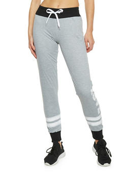 Soft Knit Drawstring Joggers with Love Graphic - 1407072290049