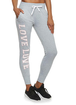 Love Graphic Fitted Joggers - 1407072290056