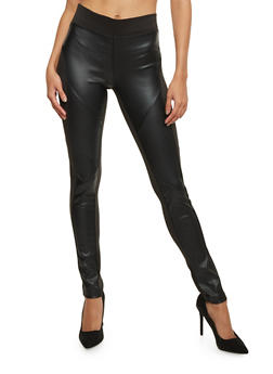 Leather Panel Leggings - 1407072290110
